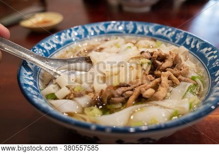 traditional food of taiwanese hakka flat noodles in a bow
