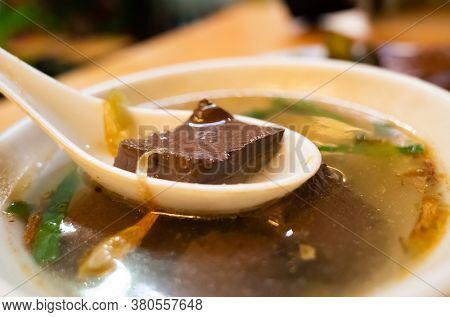 taiwanese traditional snacks of pork blood soup