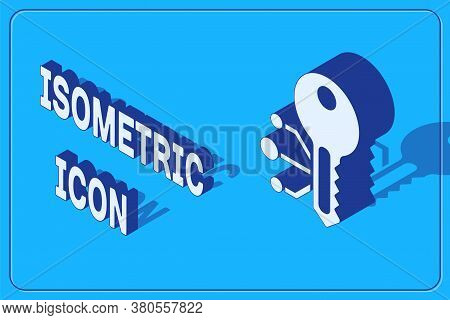 Isometric Cryptocurrency Key Icon Isolated On Blue Background. Concept Of Cyber Security Or Private