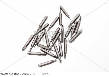 Set Of Bits For Screwdriver. Metal Bits For Screwdriver. Tool Set For Household Use
