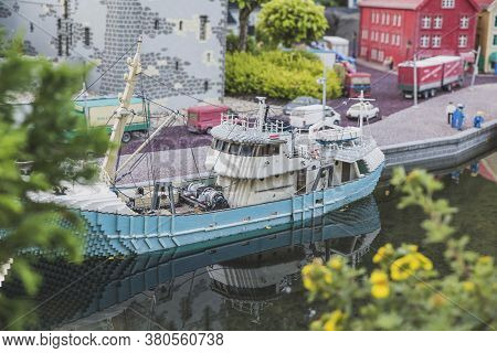 Billund, Denmark, July 2018: Toy Ship In A Miniature City In Legoland
