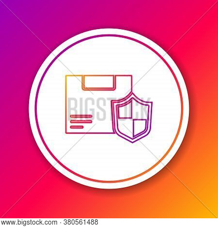 Color Line Delivery Security With Shield Icon Isolated On Color Background. Delivery Insurance. Insu