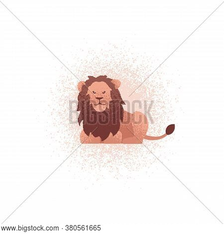Lion Textured Illustration. Vector Illustration Of A Lion Lying On The Ground. Can Be Used As An Ico