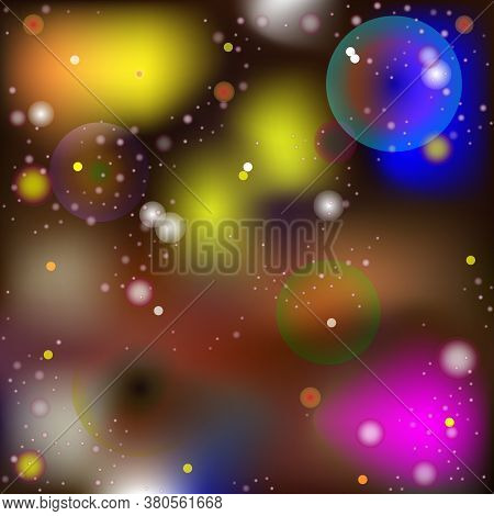 Vector Abstract Image In The Style Of A Mysterious Macro And Microworld. Glowing Spheres And Balls M