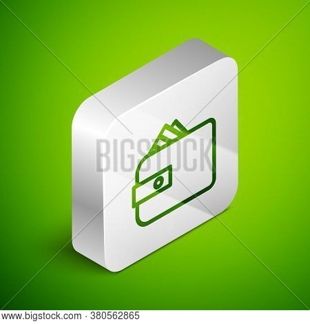 Isometric Line Wallet With Stacks Paper Money Cash Icon Isolated On Green Background. Purse Icon. Ca