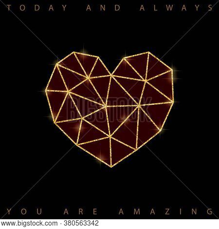 Vector Valentine S Day Card With Diamond Heart, Made Of Triangles On Dark Gold Bokeh Background
