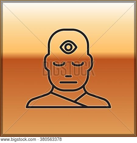 Black Line Man With Third Eye Icon Isolated On Gold Background. The Concept Of Meditation, Vision Of