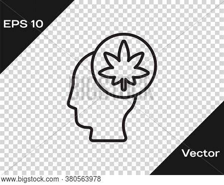 Black Line Male Head In Profile With Marijuana Or Cannabis Leaf Icon Isolated On Transparent Backgro