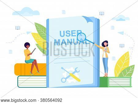 Concept Of Manual Studies. Vector Illustration. Training For Career Advancement