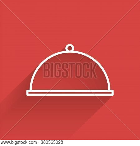 White Line Covered With A Tray Of Food Icon Isolated With Long Shadow. Tray And Lid. Restaurant Cloc