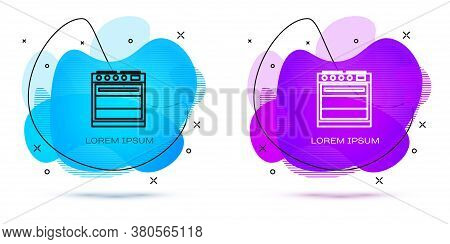 Line Oven Icon Isolated On White Background. Stove Gas Oven Sign. Abstract Banner With Liquid Shapes