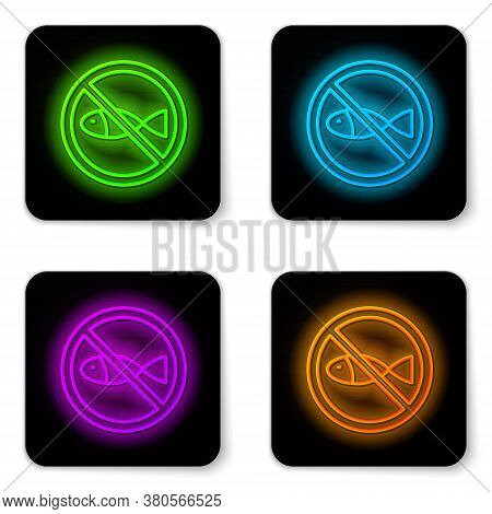 Glowing Neon Line No Fishing Icon Isolated On White Background. Prohibition Sign. Black Square Butto