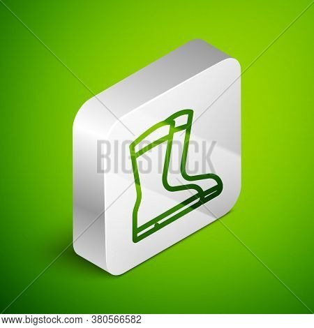 Isometric Line Fishing Boots Icon Isolated On Green Background. Waterproof Rubber Boot. Gumboots For