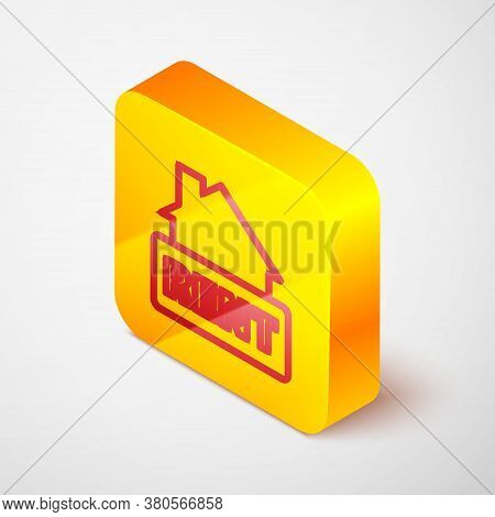 Isometric Line Hanging Sign With Text Rent Icon Isolated On Grey Background. Signboard With Text For