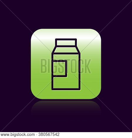 Black Line Paper Package For Milk Icon Isolated On Black Background. Milk Packet Sign. Green Square