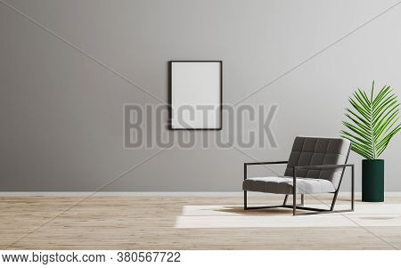 Blank Empty Vertical Frame Mock Up In Empty Room With Gray Armchair And Green Plant, Empty Gray Wall