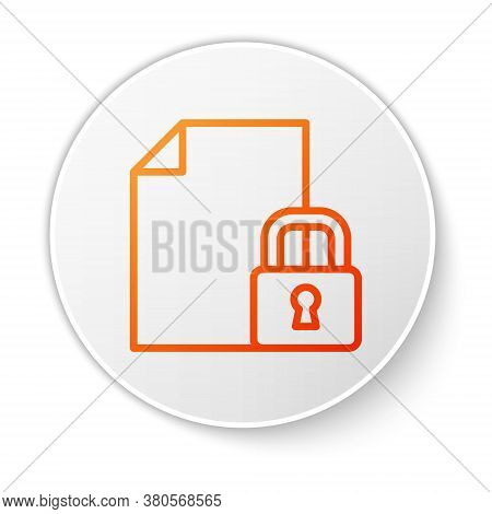 Orange Line Document And Lock Icon Isolated On White Background. File Format And Padlock. Security,