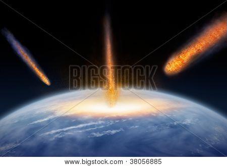 Meteors hitting the Earth