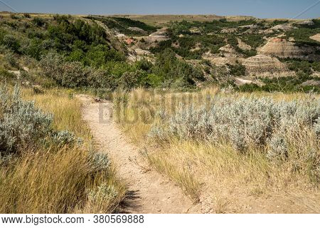 Trailhead Into The Painted Canyon Nature Trail In The Badlands At Theodore Roosevelt National Park I