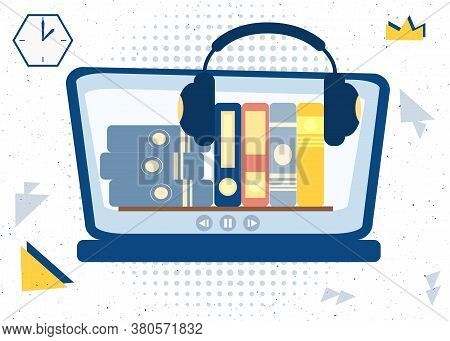 Audiobooks With Headphones In A Computer Vector Illustration Concept. Design Template Element For Au