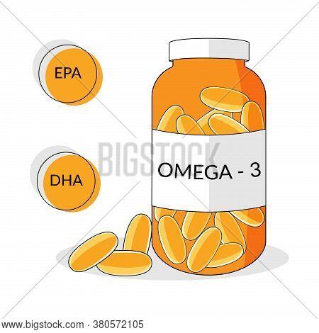 Bottle With Omega-3 Softgels, Natural Fish Oil, Epa, Dha Vector Illustration