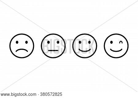 Face Smile Outline Icon On Transparent Background. Isolated Set Of Black Emoticon Sign. Happy And Sa