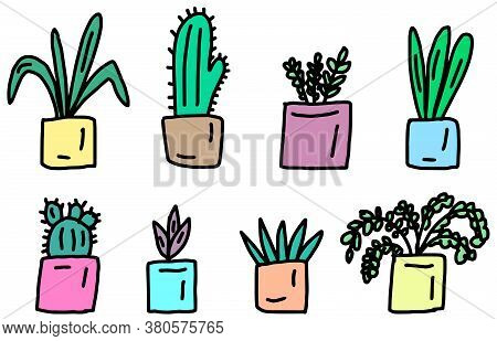 Set Of Cute House Plants In Pots, Hand Drawing. Colorful Botanical Set In Doodle Style. Vector Illus