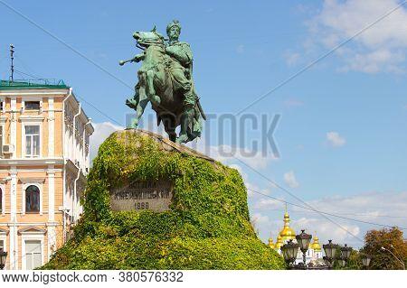 Famous Kiev Landmarks - Bogdan Khmelnitsky Statue On Sofiyvska Square And St. Michael's Cathedral In