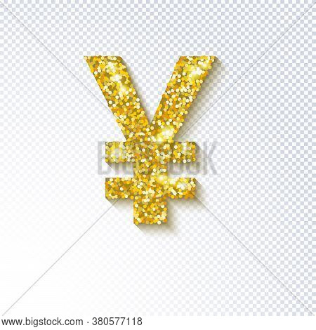 Glittering Golden Icon Of The Japanese Yen Currency Isolated On Transparent. Japanese Yen Cash. Tren