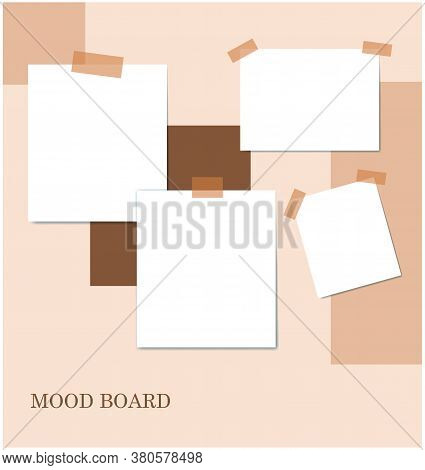 Sticky Notes Brown Color Mood Board Template. Decorative Vector Collage Composition For Office Memos