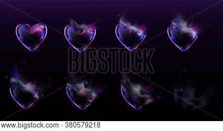Soap Bubbles In Shape Of Heart Burst Sprites Video Animation Sequence Stages. Game User Interface Gu