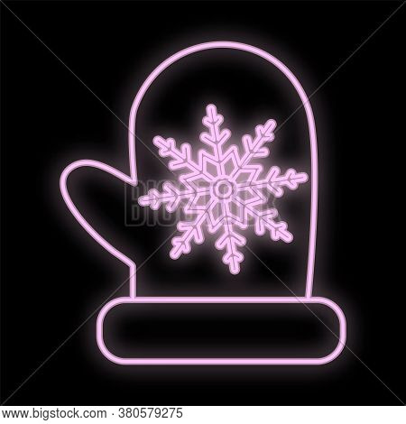 Mittens Icon In Neon Style. Element Of Travel Illustration. Signs And Symbols Can Be Used For Web, L