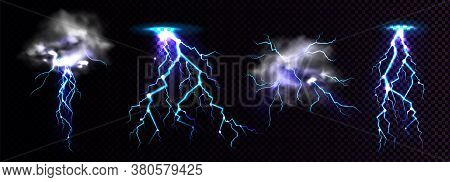 Lightning Strikes And Thundercloud, Impact Place Or Magical Powerful Energy Flash In Blue Color. Thu