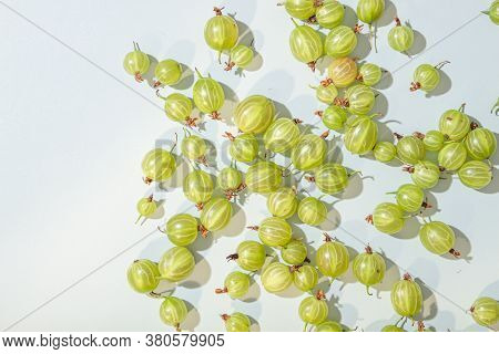 Ripe Green Gooseberry Berry. Green Gooseberry Isolated On White Background