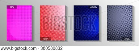 Random Point Faded Screen Tone Cover Templates Vector Batch. Industrial Magazine Perforated Screen T