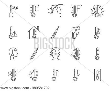 Set Of 20 Different Black And White Line Drawn Temperature Icons Showing Thermometers And Patients W