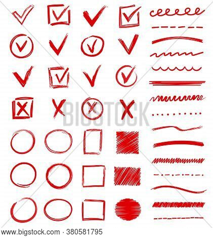 Large Set Of Red Vector Doodles Or Scribbles With Ticks, Crosses, Boxes, Circles, Check Marks, Lines
