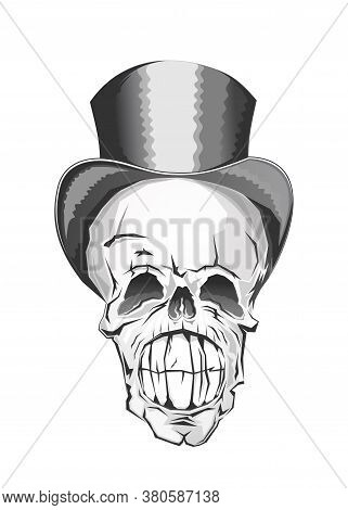 Widely Smiling Skull In Top Hat. Human Skull In A Cylinder Hat. Skull With A Lower Jaw. Vector Illus