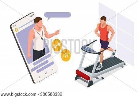 Running Simulator. Isometric Training Online, Man In Sportswear Running On A Treadmill. Fitness And