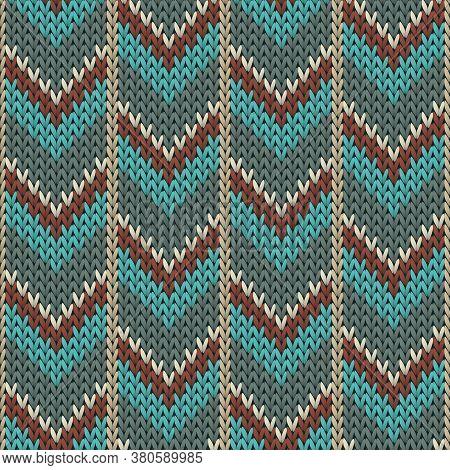 Stylish Downward Arrow Lines Christmas Knit Geometric Vector Seamless. Ugly Sweater Knitwear Structu