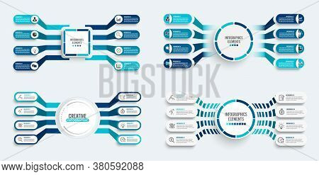 Set Vector Infographic Template With 3d Paper Label, Integrated Circles. Business Concept With 8 Opt