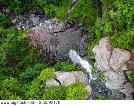 Kaaterskill Falls Cascade Aerial View In Summer Scenic Destination