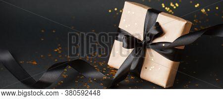 Beautiful Minimal Christmas, Black Friday Golden Black Decor And Paper Craft Gift Box With Satin Bla