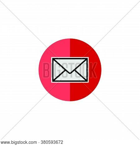 Email Icon With Colored Circle Isolated On White Background. Email Icon Trendy And Modern Email Symb