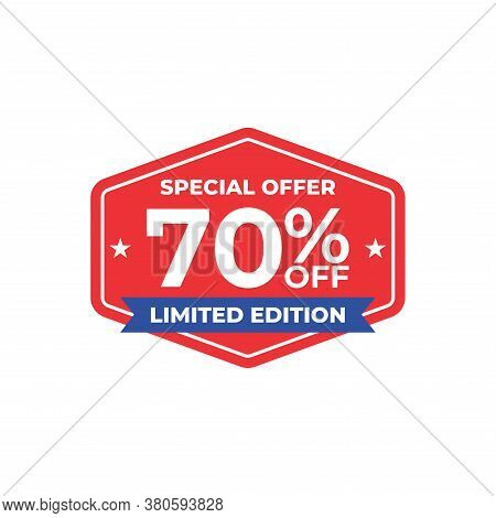 70% Sale Tag Vector Badge Template, 70% Off Sale Label Collection, Clearance Sale Sticker Emblem, Ba