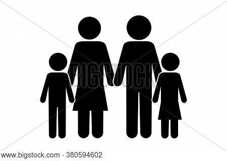 Vector Icon Of Parents With Children. Black Silhouette Of A Family. Black White Family Illustration.
