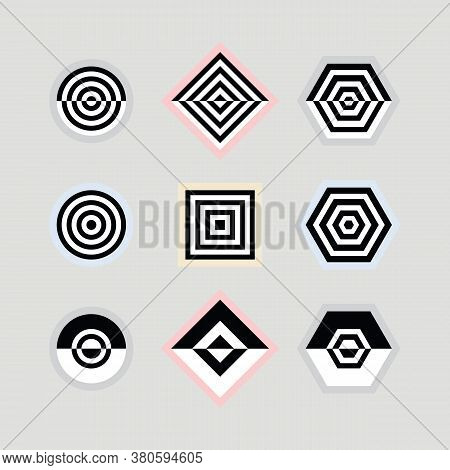Black And White Abstract Parallel Inner Lines Shapes Emblems And Icons Set On Gray Background