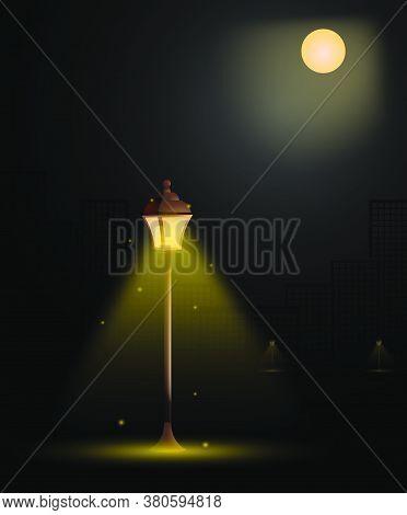 Street Light In Big City. Vintage Style. Night Romance Of Metropolis. Bright Full Moon In Sky. Stree