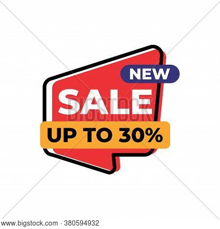 Up To 30% Sales Tag Vector Badge Template, 30% Sales Label Collection, Sale Sticker Emblems, Isolate