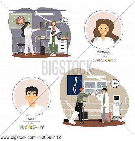 Doctors Advising Patients In Medical Clinic, Hospital, Vector Flat Illustration